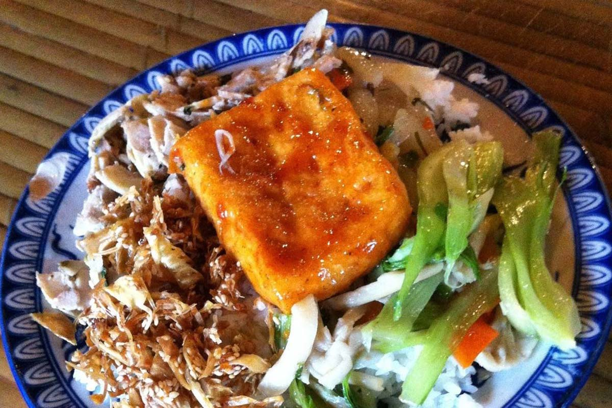 Try rice dishes  in Thanh Lieu vegan restaurants in Hue
