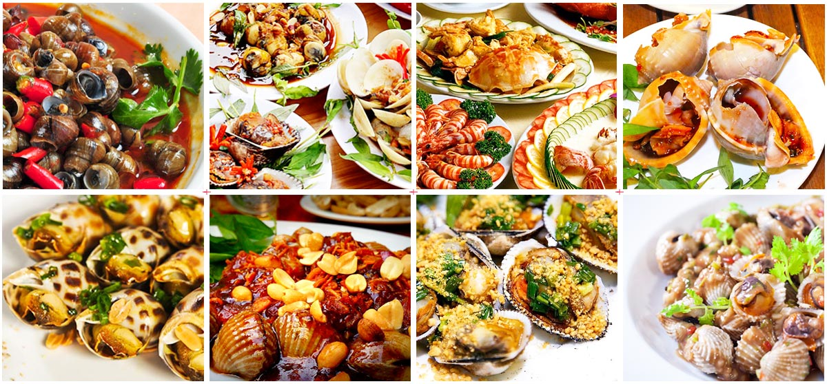 Top some kinds of seafood for those transfer from Hue to Hoi An by private car. - Hura Cars