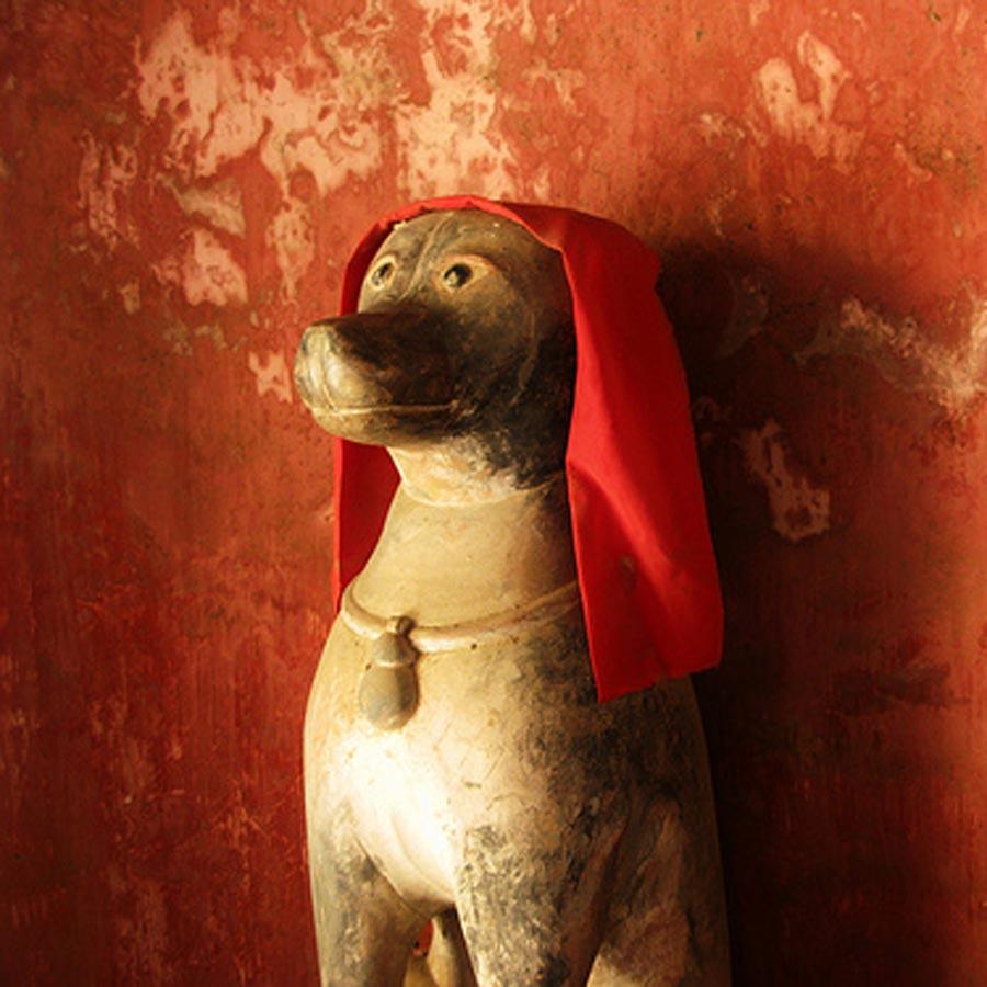 dog statue in hoi an japanese bridge