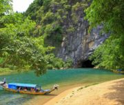 Boat on Son river to Phong Nha cave